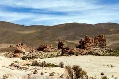 Bolivia: formaciones de roca rojas de la Italia Perdida, o Italia perdida, en la reserva de Eduardo Avaroa Andean Fauna National imagen de archivo