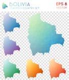 Bolivia geometriska polygonal översikter, mosaikstil Arkivbild