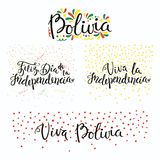 Bolivia Independence Day quotes. Set of hand written calligraphic Spanish lettering quotes for Bolivia Independence Day with stars, confetti, in flag colors Royalty Free Stock Images