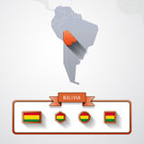 Bolivia info card. Bolivia on the map of South America with flags Royalty Free Stock Photo