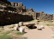 Bolivia isla del sol ruins copacabana mountain landscape lake Stock Images