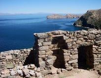 Bolivia isla del sol ruins copacabana mountain landscape lake. Stones Royalty Free Stock Photo