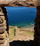 Bolivia isla del sol ruins copacabana mountain landscape lake Stock Image