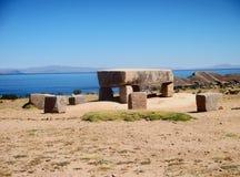 Bolivia isla del sol ruins copacabana mountain landscape lake. Stones Stock Image