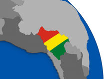 Bolivia and its flag on globe Royalty Free Stock Photo