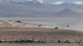 Bolivia Jeep desert. Scene from Boliva South America Slow  Motion of truck jeep journey through the desert stock video