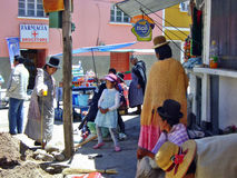 Bolivia La paz city people. Dressed in traditional hat stock images