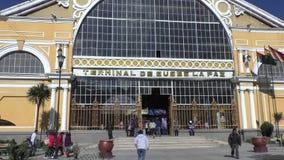 The terminal of the central bus station, La Paz, Bolivia. Bolivia, La Paz, 11 February 2017 - the building of the central bus station terminal, La Paz City stock video