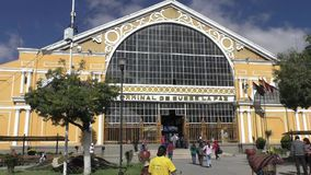 The terminal of the central bus station of La Paz City. Bolivia, La Paz, 11 February 2017 - the terminal of the central bus station of La Paz City, Bolivia stock video footage