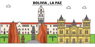 Bolivia , La Paz outline skyline, bolivian flat thin line icons, landmarks, illustrations. Bolivia , La Paz cityscape. Bolivian vector travel city banner Royalty Free Stock Image