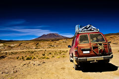 Bolivia ,  landscape, jeep desert and mountain Stock Photos
