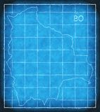 Bolivia map blue print artwork illustration silhouette Stock Photo