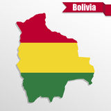 Bolivia map with flag inside and ribbon Royalty Free Stock Images