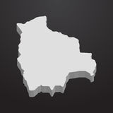 Bolivia map in gray on a black background 3d Royalty Free Stock Photo