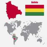 Bolivia map on a world map with flag and map pointer. Vector illustration Stock Photography
