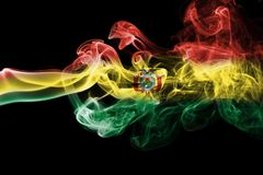 Bolivia national smoke flag. Bolivia smoke flag isolated on a black background Royalty Free Stock Photography