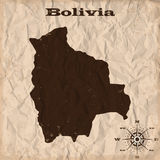 Bolivia old map with grunge and crumpled paper. Vector illustration Stock Photography