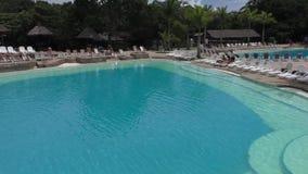 Swimming pools in Guembe Biocenter in Bolivia. BOLIVIA, SANTA CRUZ DE LA SIERRA, 25 JANUARY 2017 - Panorama of swimming pools in Guembe Biocenter and Resort in stock video