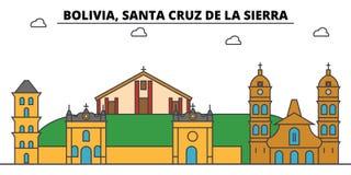 Bolivia, Santa Cruz De La Sierra outline city skyline, linear illustration  Royalty Free Stock Photos