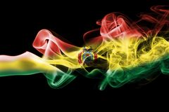 Bolivia national smoke flag. Bolivia smoke flag isolated on a black background Royalty Free Stock Image
