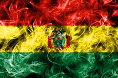 Bolivia smoke flag isolated on a black background.  Royalty Free Stock Photos