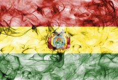 Bolivia smoke flag isolated on a white background. Bolivia smoke flag isolated on a white background Stock Photography