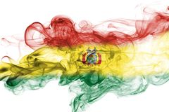 Bolivia national smoke flag. Bolivia smoke flag isolated on a white background Royalty Free Stock Images
