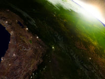 Bolivia from space during sunrise Royalty Free Stock Images