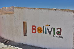 Bolivia tourism logo. Los Flamencos Eco Hotel. Laguna Hedionda. Potosí department. Bolivia Royalty Free Stock Photo