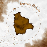 Bolivia watercolor map in sepia colors. Stock Photos
