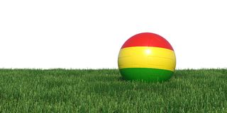 Bolivian Bolivia flag soccer ball lying in grass world cup 2018. Isolated on white background. 3D Rendering, Illustration Royalty Free Stock Photos