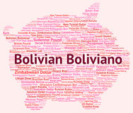 Bolivian Boliviano Indicates Exchange Rate And Banknotes. Bolivian Boliviano Representing Currency Exchange And Words Stock Image