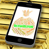 Bolivian Boliviano Indicates Worldwide Trading And Coin Stock Image