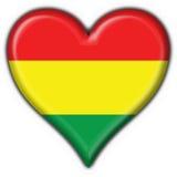Bolivian button flag heart shape. 3d made bolivian button flag Stock Image