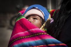 Bolivian children along the road to Oruro - Bolivia stock photo