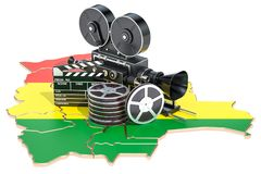 Bolivian cinematography, film industry concept. 3D rendering. Isolated on white background Royalty Free Stock Photo