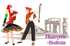 Bolivian Couple performing Huayno dance of Bolivia Stock Photos