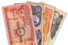 Bolivian currency. Billetes de la moneda oficial de Bolivia stock photos