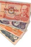 Bolivian Currency. 100 hundred, 20, 10 and 50. Billetes de la moneda oficial de Bolivia stock image