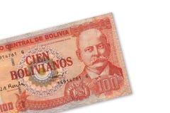 Bolivian Currency. 100 hundred. Billetes de la moneda oficial de Bolivia royalty free stock image