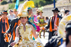 Bolivian dancing with tipycal costume in carnival Stock Image