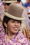 Bolivian fiesta. Dancers performing the Morenada during a parade in the Fiesta of Villa Fatima, La Paz, Bolivia Royalty Free Stock Photo