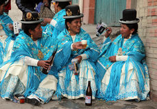 Bolivian fiesta. Dancers resting after performing the Morenada during a fiesta in La Paz, Bolivia in 2013 Stock Photos