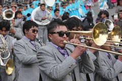 Bolivian fiesta. Musicians playing in a brass band at a fiesta in La Paz, Bolivia in 2013 Stock Photos