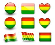 The Bolivian flag. Set of icons and flags. glossy and matte on a white background Stock Photo