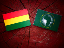 Bolivian flag with African Union flag on a tree stump  Stock Photos