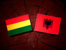 Bolivian flag with Albanian flag on a tree stump isolated Stock Photos