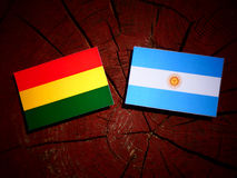 Bolivian flag with Argentinian flag on a tree stump  Royalty Free Stock Photography