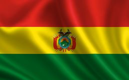 Flag of Bolivia. Part of the series. Bolivian flag blowing in the wind Stock Photos