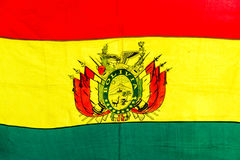 Bolivian Flag. Closeup up view of the red, yellow, and green of the Bolivian flag Royalty Free Stock Photography